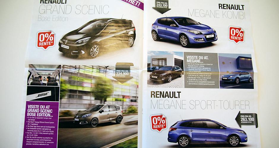 Renault billagsavis, oppslag